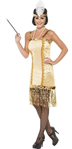 Fancy Me Damen 1920s Jahre 1930s Jahre Gold Flapper Charleston Great Gatsby Kostüm Kleid Outfit UK 8-18 - Gold, Gold, 8-10