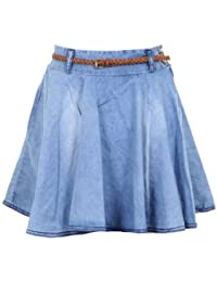 FANTASIA BOUTIQUE ® New Ladies Light Weight Denim Stone Wash Women's Mini Skirt