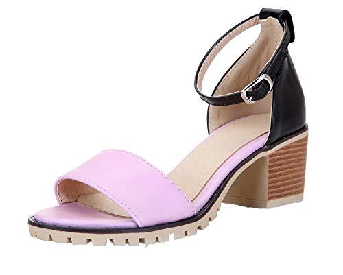AgooLar Damen Weiches Material Gemischte Farbe Schnalle Offener Zehe Sandalen, Pink, 41