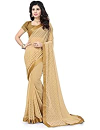 Riva Enterprise Women's Georgette Stone Work Light Saree With Blouse