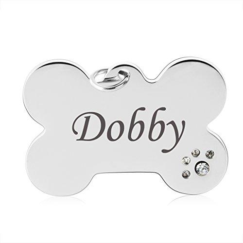 Personalisiert Hundemarke mit Zirkonia Edelstahl Tiermarke Katzenmarke Haustier ID Tag Hund Tag,Knochen (Pet-id-tags Für Hunde)