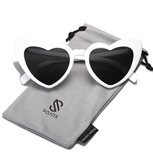 SOJOS Herz Sonnenbrille Clout Google Schick Design Herzform SJ2062 Weiß Rahmen/Schwarz Linse