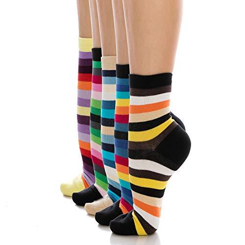 UARU Womens Crew Socken 5 Paare, Mittlerer Knöchel Schnitt Bunt Gestreifte Baumwolle - Einfach Gemusterte Paare