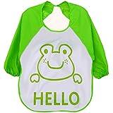 Ularma 1pc niños niño Cartoon delantal transparente plástico suave impermeable baberos (verde)