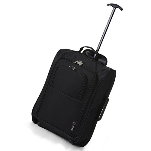 5 Cities Cabin Trolley Hand Luggage Bag Black Plain 55CM
