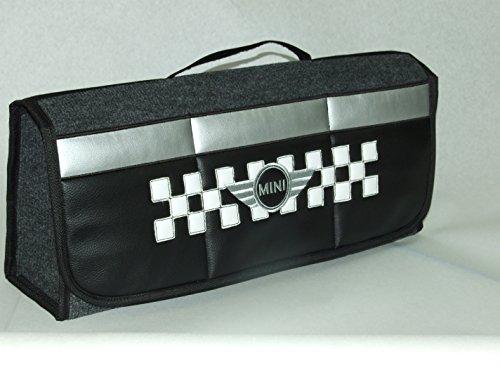 Bolso organizador para el maletero de tu coche de piel sintética y diseño de bandera de cuadros, compatible con cualquier modelo de Mini (Cooper)