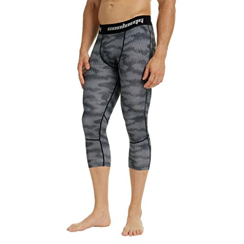 COOLOMG Herren Kompressionshose 3/4 Strumpfhose Trainingshose Cool Dry Baselayer Leggings Grau Erwachsene Kleine (Jugend X-Large) (Trainingshose Capri Camo)