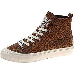 Zapatillas de Deporte Zapatos Pablosky Calzado Casual de Algodón para Mujer con Cabeza Redonda Plana con Botas de Terciopelo de Leopardo Cálido Gimnasia Bambas Mujer Caqui 36
