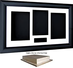 "14.5x8.5"" Black Shadow Box 3D Medal Keepsake Casts Flowers Display Frame / White 4 Aperture Mount / Black backing - by BabyRice"