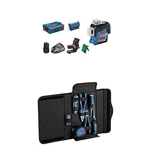 Bosch Professional Linienlaser GLL 3-80 CG (1x 2,0 Ah Akku, 12 Volt, Arbeitsbereich mit Empfänger: 120 m, in L-BOXX) + 16tlg. Werkzeug Set (in Tasche)