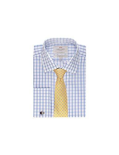 Hawes & Curtis Business Hemd – Slim Fit – Manschetten – Gitterkaro Weiß & Blau, Weiß & Blau, 37cm Kragen, 84cm Ärmel (UK 14.5-33) (33 Manschette Hemd)