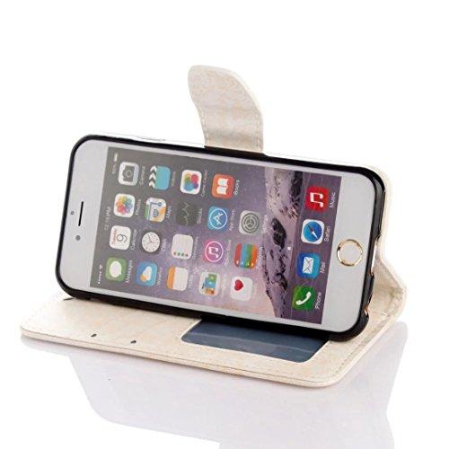 Vandot Etui IPhone 6 Plus Cuir Portefeuille Case IPhone 6S Plus Neuf Protection Coque Protecteur D'écran Bumper avec Pratique Fonction Stand Fermeture Magnétique Credit Carte Pochette + Luxe Mode boul Heart-blanc
