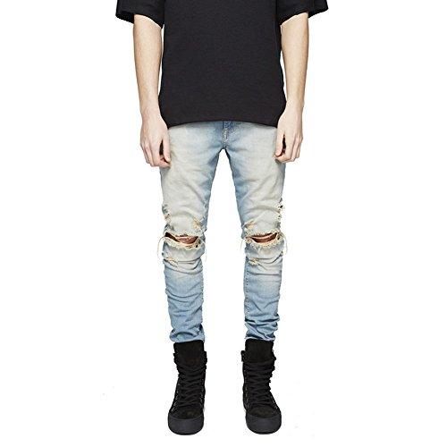 Geurzc skinny elasticizzati moto jeans uomo strappato (w34)