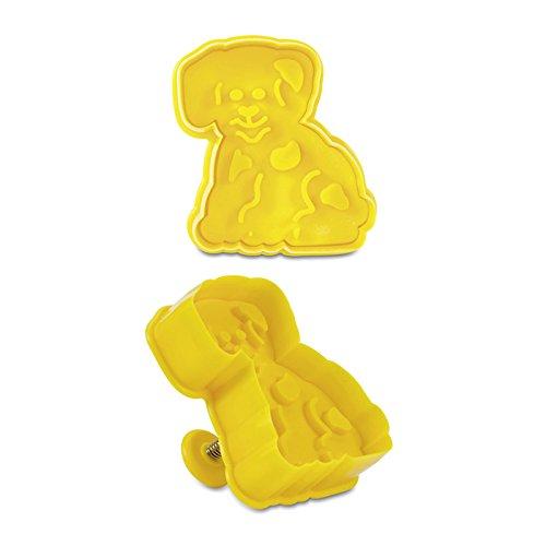 Haus Hund Prägung Ausstechform mit Auswerfer, gelb, 7cm