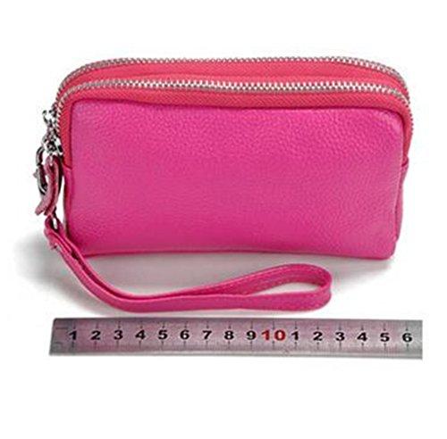 MeiliYH Damen-Leder-Mappe Doppel-Reißverschluss Großbild-Handy-Tasche Multifunktions-Handtasche Schwarz
