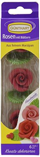 Günthart Marzipan-Rosen rot mit Blättern, 33 g