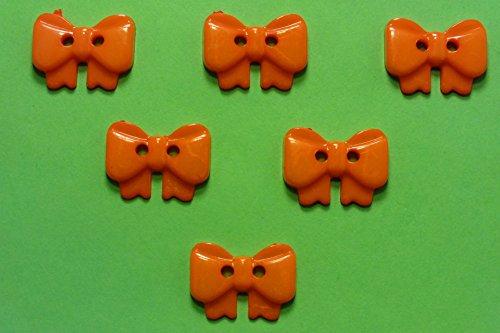 Boutique d'isacrea Set 6Tasten: Schleife Orange 17mm. Neuware, ideal für Ihre Basteln, Scrapbooking, Kurzwaren, Couture, Tri