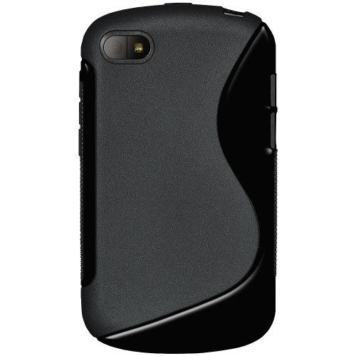 Amzer 95688 TPU Hybrid Case - Solid Black for BlackBerry Q10