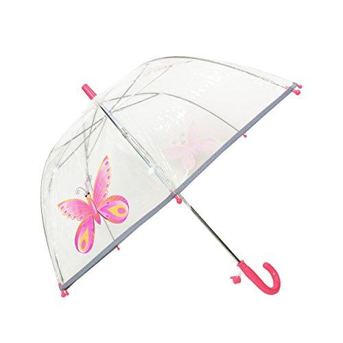 SMATI Parapluie Enfant Transparent Cloche - Bordure Fluorescente (Rose Papillon)