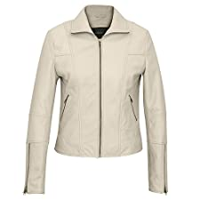 Niki: Ladies Leather Biker Jacket Cream