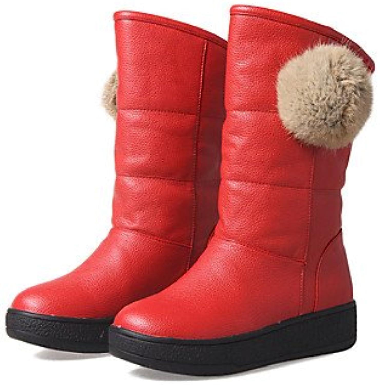 RTRY Zapatos De Mujer Invierno Polipiel Forro Pelusas Planas Botas De Tacón Puntera Redonda Mid-Calf Botas Para...