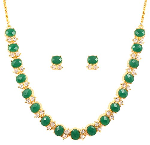 Touchstone Gold Tone Alloy Metal Royal Look Green Faux Emerald Necklace Set for Women
