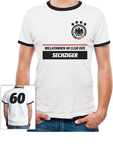 60ster Geburtstag T-shirts (60 Geburtstag Geschenk - Willkommen im Club der 60er Deutschland Trikot T-Shirt X-Large Weiß/Schwarz)