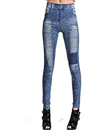 LSWA Jeans Leggings in Hose Tattoo destroy Look Röhre Jeans look Graffit Camouflage 34/36/38/40/42/44 (18132bl, 1-LG2014)