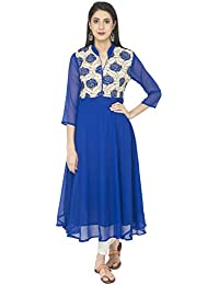 Zoeyams Women's Blue Georgette Embroidery Prints Long Straight Kurti