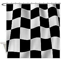 CafePress–Tenda da doccia nero Bandiera a scacchi Scacchiera Tenda Doccia, colore: bianco
