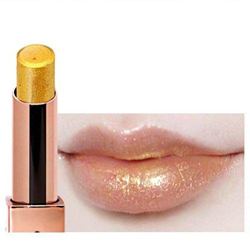metallischer Lipgloss, ESAILQ Meerjungfrau Schimmer Gold Lippenstift Glitzer Pigment Metallic Lip Gloss Langlebige Lidschatten Kosmetik Lippen Make-up-Tool