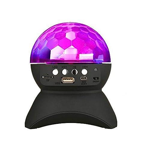 Boule à facettes disco rotatif scène LED, cristal clair Haut-parleur Bluetooth sans fil avec entrée auxiliaire, carte TF Lecteur de musique noir