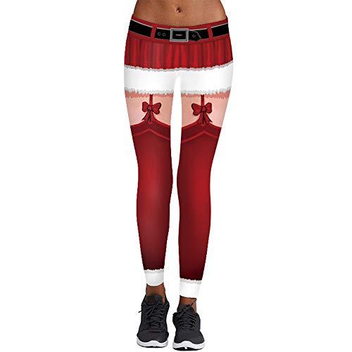 FRAUIT Weihnachten Print Leggings Damen Stretch Frauen Mädchen Yoga Hosen Pants Sporthose eng Anliegende Sportswear Trainingsanzug Freizeit Geschenk Leggings Fitness Anzüge Für Yoga