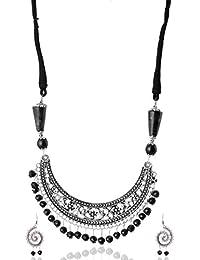Rai Collection Silver Oxidized Silver Choker Necklace Set For Women (RAI 015)