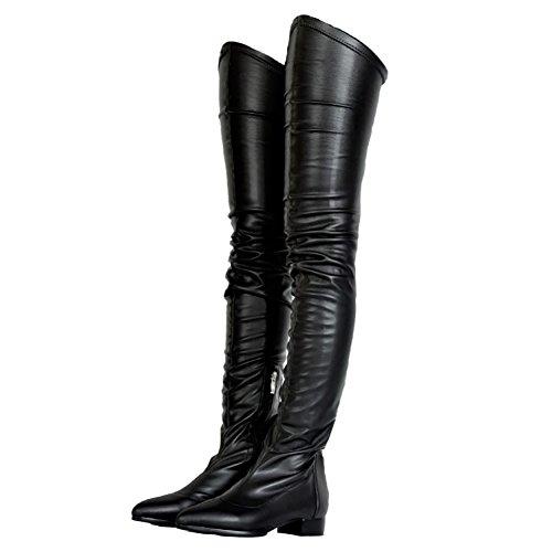 MERUMOTE Damen Kniestiefel, Niedriger Absatz Schuhe Wasserdicht Stiefel für den Winter Herbst Schwarz 41 EU -