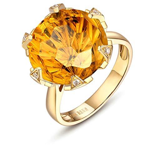 AnazoZ Echtschmuck 18 Karat 750 Gold Damen 10CT Natürlicher Citrindiamant Eheringe Gold Schmuck 54 (17.2)