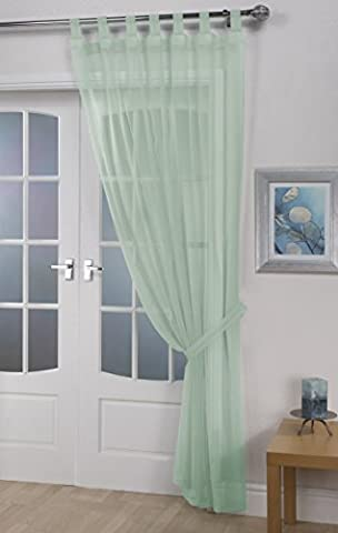 Woven Voile Tab Top Curtain Panels - Free Tieback Included (Pastel Green, 60