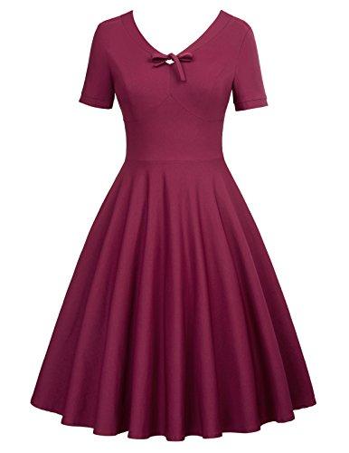 fashion ballkleid knielang rockabilly kleid hochzeitskleid für Damen M BP550-2