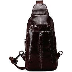 iVotre Parte Superior De Cuero Genuino Hombro Sling Bag Para Hombres Vantage Y Utilitarios Marca Nuevo Hombro Bolso Crossbody Bolsa De Gran Capacidad Para Los Negocios - Café
