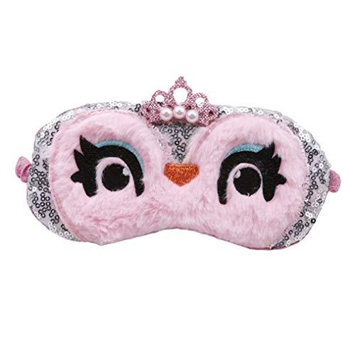 ODN Cartoon Premium Schlafmaske Eule Augenmaske Blackout Brille Eyeshade Für Tiefen Schlaf und Optimale Erholun (Rosa)