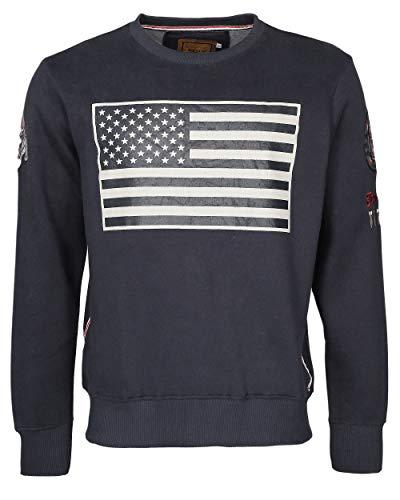Top Gun Herren Sweater Mit Us-Flagge Game Navy,XXL (Cruise Navy Patches)