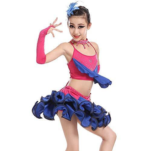 Kostüm Dance Lyrischen Modern - GOWE Schöne Mädchen Latin Dance Kleid Rüschen ärmellos 2 Stück Top/Rock - Lyrische Moderne Gymnastik Tanz Performance Wettbewerb Gesellschaftstanz Kostüm Outfits, Blau/130