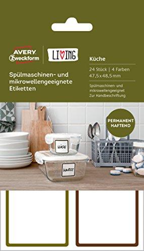 Avery Zweckform 62004 Living Etiketten für Spülmaschinen und Mikrowellen (47.5 x 48.5 mm, 4 Farben) 24 Stück weiß