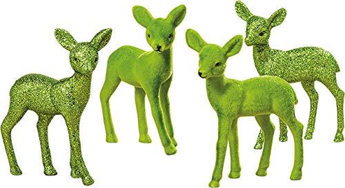 Bo 4 STK. REH Weihnachtsfiguren Set Figur 15 cm Glitzer matt (Grün 2 STK.) -