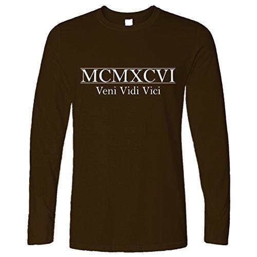 MCMXCVI Veni Vidi Vici Geburtsjahr 1996 21. Geburtstag Geschenk-Geschenk-Andenken In der römischen Zahlen aus Langarmshirt Brown