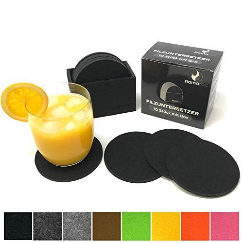 flamaroc Filzuntersetzer Rund - 10er Untersetzer Filz Premium-Set mit Box Schwarz, Stylishe Glasuntersetzer in Schwarz für Glas, Getränke, Gläser (Schwarz)