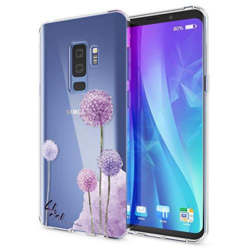 NALIA Handyhülle kompatibel mit Samsung Galaxy S9 Plus, Slim Silikon Motiv Case Crystal Schutzhülle Dünn Durchsichtig, Etui Handy-Tasche Back-Cover Transparent Bumper, Designs:Dandelion Pink