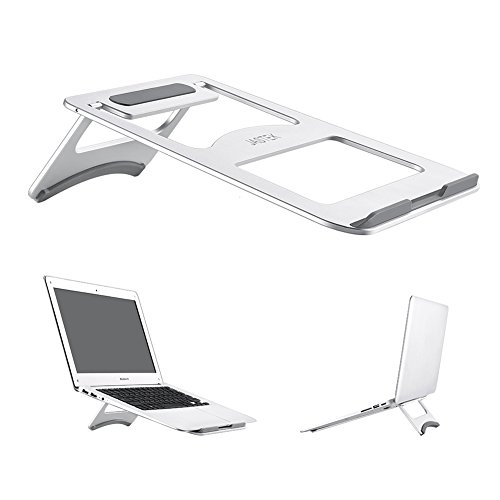 Verstellbar Mobile Base (Aluminium Laptop Ständer, jastek Compact Universal Portable Verstellbarer Ständer mit zusammenklappbar Halterung für Laptop Notebook Tablet und mehr–SILBER)