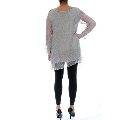 Candy Clothing -  Maglia a manica lunga  - Floreale - Donna Grey
