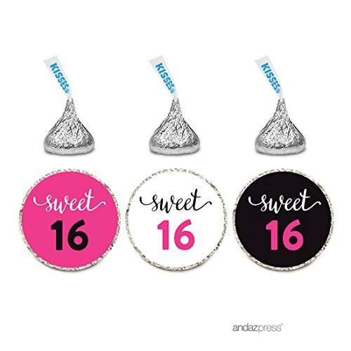 e Drop Labels Stickers Trio, Sweet 16 Black and Fuchsia Pink, 216-Pack, Fits Hershey's Kisses Party Favors, Hot Pink Decor Decorations, Invitation Envelope Seals by Andaz Press ()